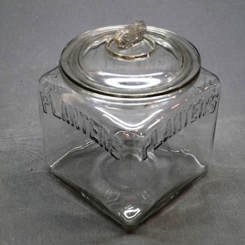 Planters Embossed 4 Sided Counter Jar with Rolled Lip and Peanut Lid