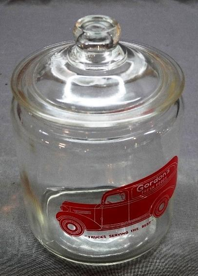 Gordon's Fresh Foods Counter Jar with Delivery Truck Logo in Red