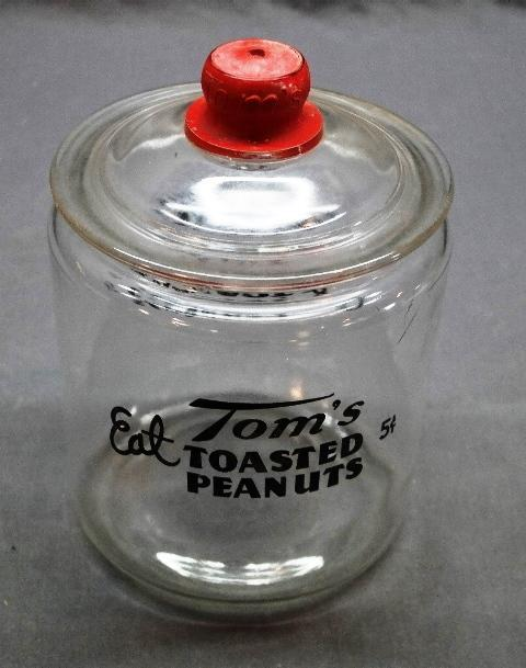 Eat Tom's Roasted Peanuts Counter Jar with Tom's Embossed Lid
