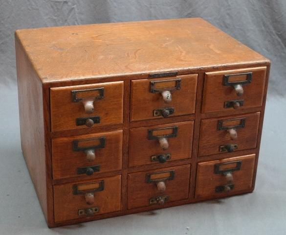 9 Drawer Oak Card File Cabinet by Library Bureau SoloMakers