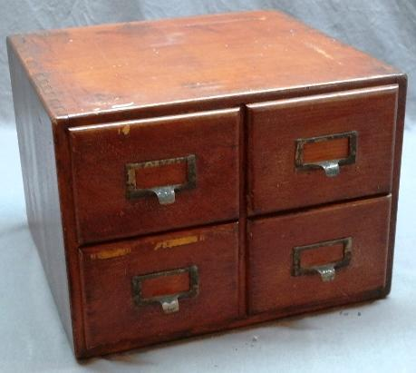 4 Drawer Oak Card File Cabinet by Shaw-Walker