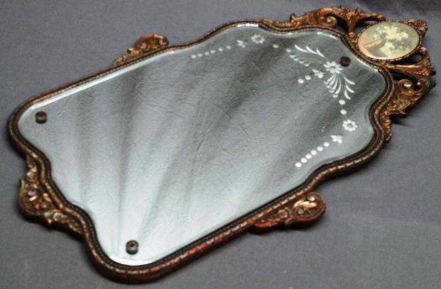 Very nice Cut Glass Mirror with Plaster Molded Frame and Decoration Top