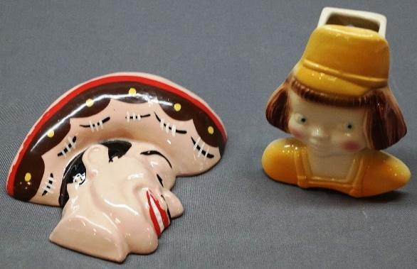 Lot of 2 Wall Pockets - Dutch Style Girl's head and Man wearing a Sombrero