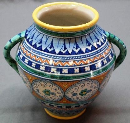 Italian Deruta Signd Handled Vase