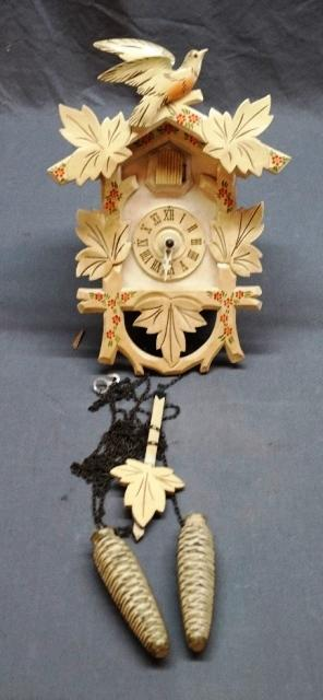 German Painted Cuckoo Clock with Weights and Pendulum
