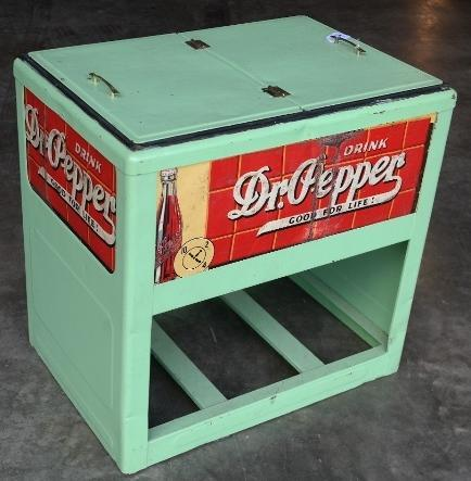 Drink Dr. Pepper Free Standing Cooler with 4 Signs