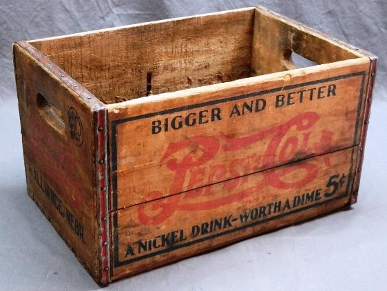 Bigger and Better Pepsi-Cola Wooden Crate- Alliance Nebr