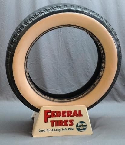 Federal Tires Display Stand with White Wall Tire