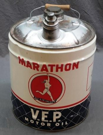 Marathon  The Ohio Oil Company V.E.P. Motor Oil 5 Gallon Can with Bale Handle and Caps