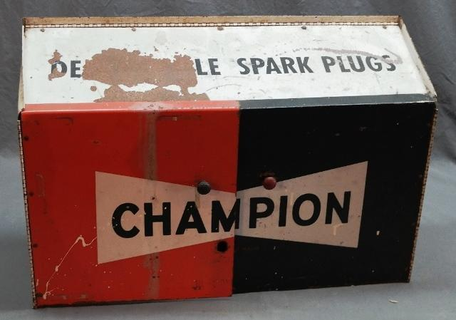 1970s Champion Spark Plug Cabinet with Product