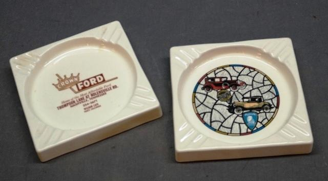 Chrysler Plymouth and Ford Advertising Ceramic Ashtrays