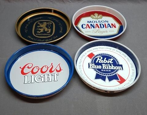 Lot of 4 Beer Advertising Trays- Pabst Blue Ribbon, Coors, Molson Canadian, Lowenbrau