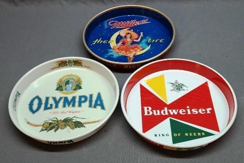 Lot of 3 Beer Advertising Trays- Miller High Life, Olympia, and Budweiser