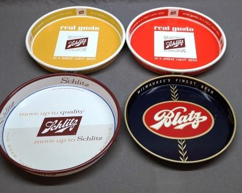 Lot of 4 Beer Advertising Trays- Schlitz and Blatz