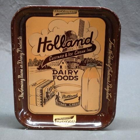 Holland Custard & Ice Cream Dairy Foods Tray-Brown Band