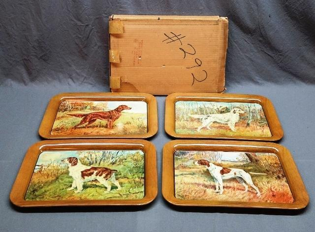 Original Set of 4 Dog Trays in Shipping Box- Artist Larsen