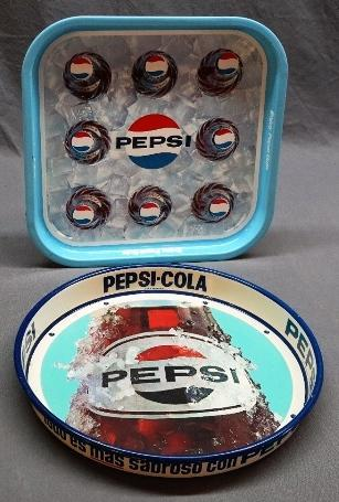Lot of 2 Pepsi Trays-Enjoy Pepsi-Cola + 8 Bottle Pepsi Trays