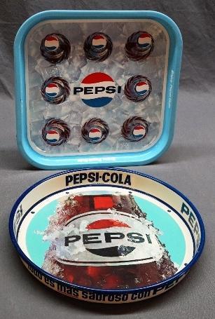 Lot of 2 Pepsi Trays-Enjoy Pepsi-Cola + 8 Bottle Pepsi Trays