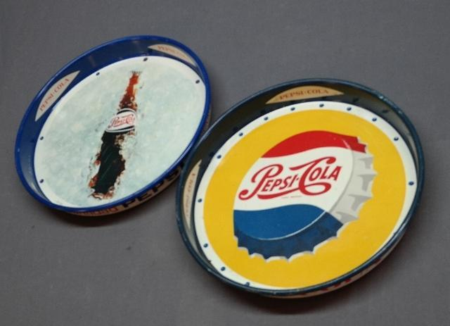 Lot of 2 Pepsi Trays-Yellow Back Bottle Cap + Bottle In Ice-