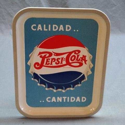 Quality- Quantity PEPSI:Cola Tray w/Bottle Cap Graphics