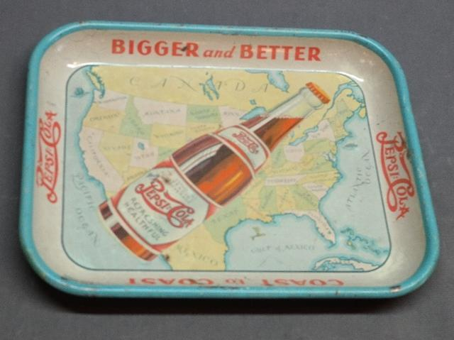 Early Pepsi:Cola Coast To Coast Advertising Tray
