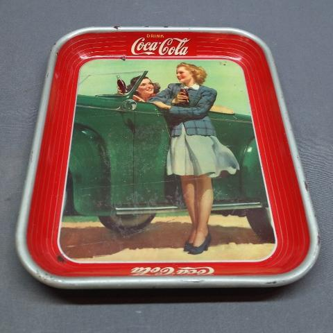1942 Drink Coca Cola Tray with Girls and Car