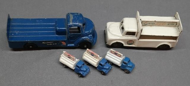 Line Mar Pepsi Delivery Truck + 1940s Truck and 3 Unusual Tiny Trucks
