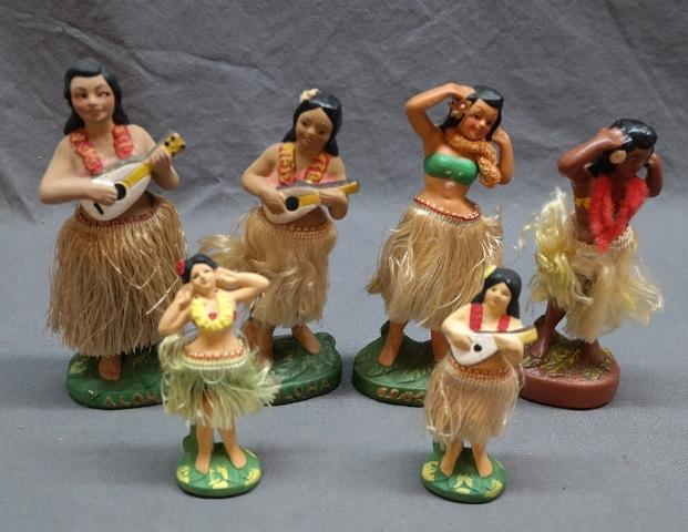 Lot of 6 Hawaiian Dancing Hula Girls Bobble Head Motion Figure - Mid Century