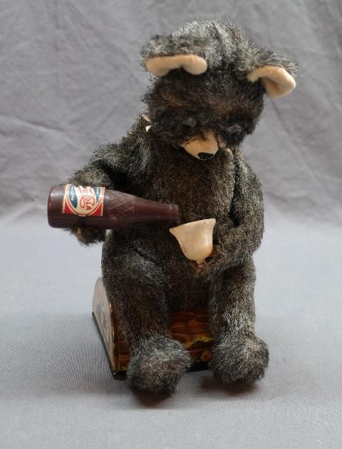 Battery Operated Pepsi Drinking Grey Bear made by Alps