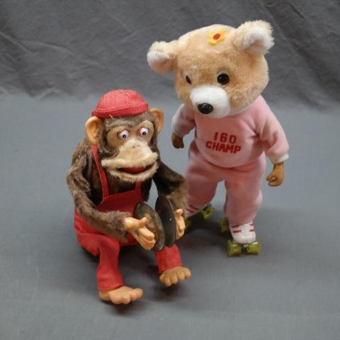 Battery Operated Monkey with Cymbals + Roller Skating Bear