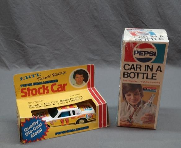 Monogram Indy Car in a Pepsi Bottle- Sealed + Ertl Darrell Waltrip Stock Car in Package