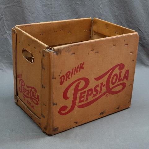 Drink Pepsi-Cola Waxed  Cardboard 12 Bottle Carrier/Crate- Single Dot