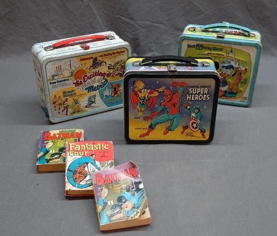 Lot of 3 -1976 Metal Lunchboxes- World of Metrics, Walt Disney World, Marvel Super Heroes + Bat