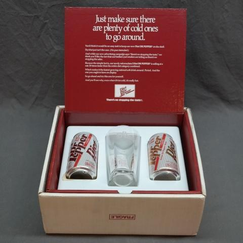 1992 Diet Dr Pepper Sales Award Inscribed Glass and Cans