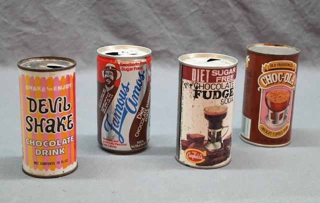 Lot of 4 Vintage Chocolate Drink Beverage Cans- Straight side Cans- Devil Shake, Famous Amos, Choc-Ola