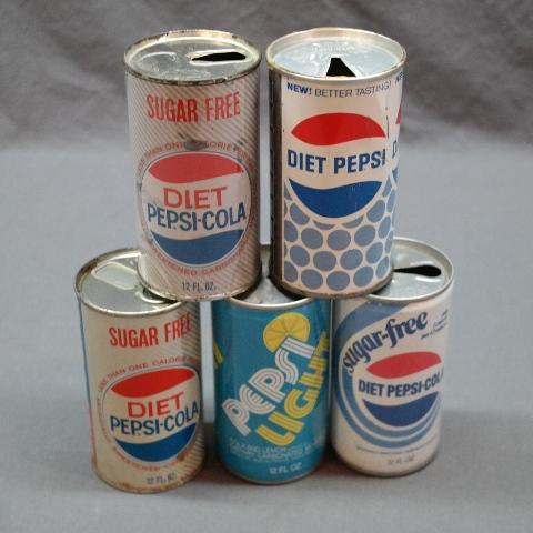 Lot of 5 Early Diet Pepsi and Pepsi Light Straight Side Soda Cans