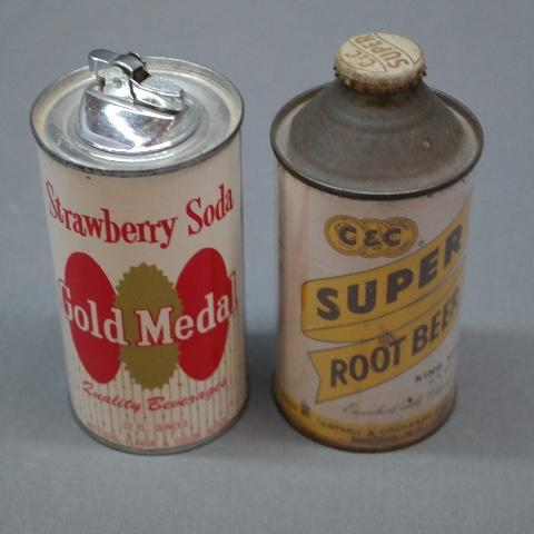 C & C Root Beer Cone Top Can + Strawberry Soda Gold Medal Lighter