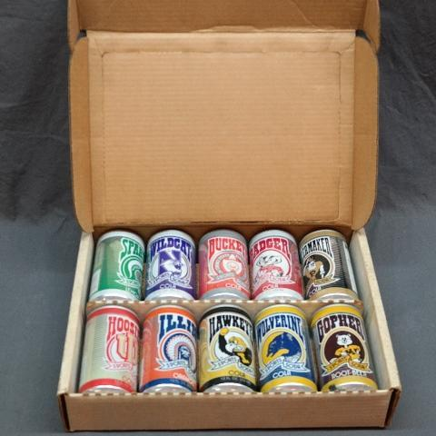 1984 Sports Soda Big Ten Can Collection in Display Case