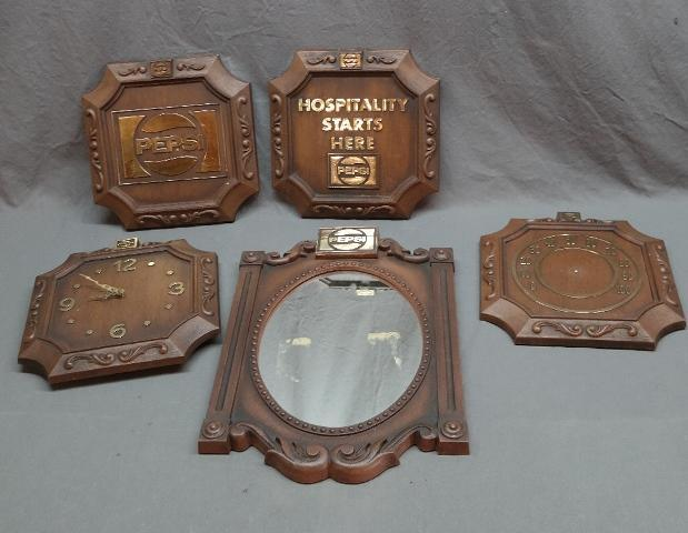 Set of 5 Molded Plastic Pepsi Diner Signs- Thermometer, Clocks, Mirror