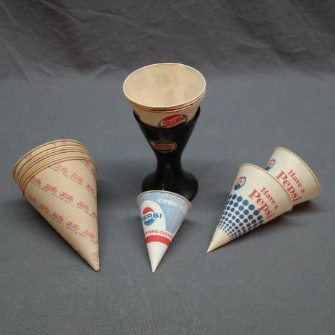 Lot of Plaster Cone Cup Holder + Various Cone Cups
