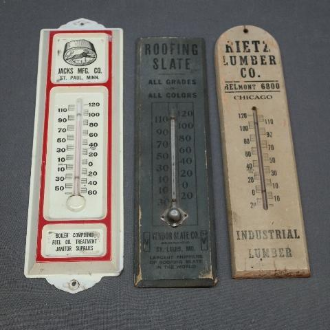 Lot of 2 Early Wood Thermometers + Metal Advertising Thermometer