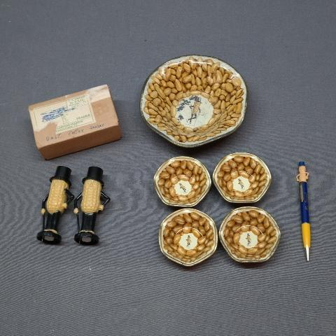 Lot of Early Planters Mr. Peanut Bowl Set + Salt and Pepper Set in Original Package