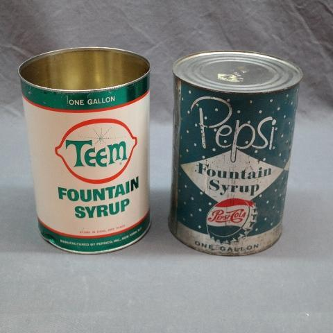 Teem and Pepsi Fountain Syrup Gallon Cans