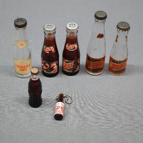 Lot of Various Novelty Soda Bottles- Pepsi- Salt and Pepper,  Canada Dry, Moxie