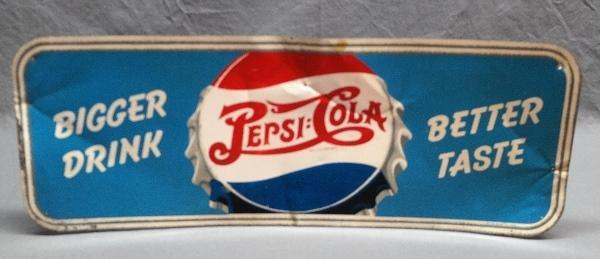1940s Bigger Drink Better Taste Pepsi Bottlecap Advertising- Metal Sign