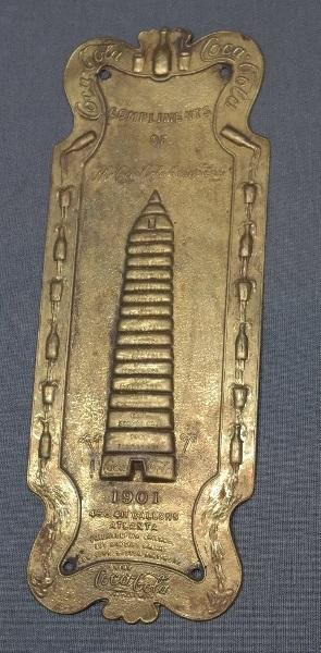 Reproduction of Early 1900s Coca-Cola Brass Wall Plaque