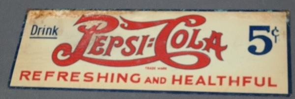 1930s Pepsi-Cola Refreshing and Healthful Embossed Tin Tacker Advertising Sign