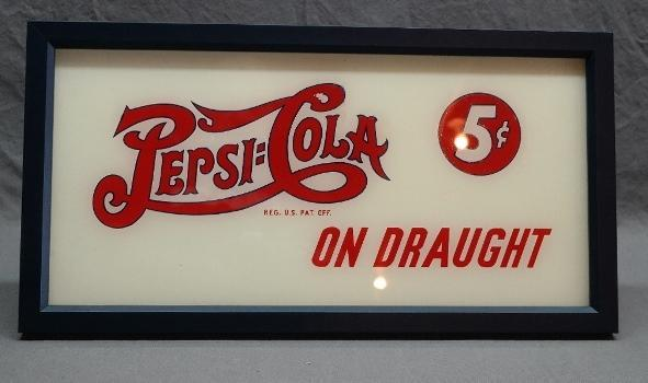 1940s Double Dot Pepsi-Cola on Draught Reverse Painted Glass Fountain Advertising Sign- Professionally Framed