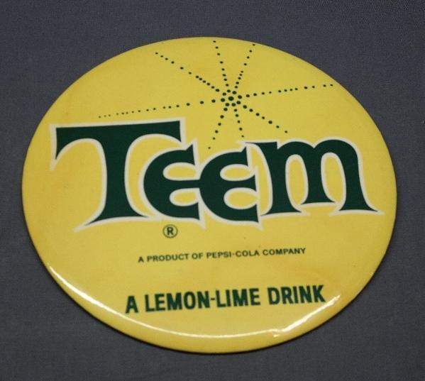 Teem Soda Easel Back Advertising Button Sign-Celluloid