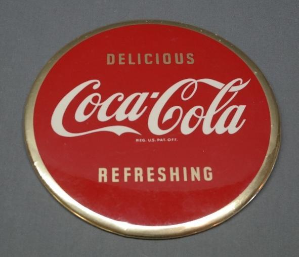 Coca Cola Delicious Refeshing Advertising Button Sign- Celluloid